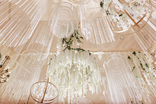 amazing luxury decorated place ceiling for wedding reception, catering in restaurant