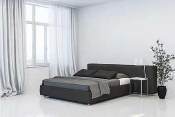 Stylish monochromatic grey and white bedroom
