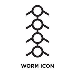 Worm icon vector isolated on white background, Worm sign , line symbol or linear element design in outline style