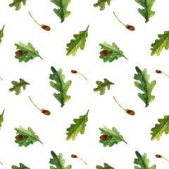 Watercolor seamless pattern of oak leaves and acorns