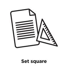 Set square icon vector isolated on white background, Set square sign , sign and symbols in thin linear outline style