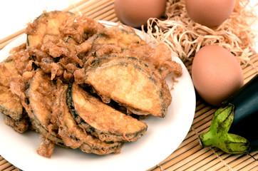 eggplant menu with Crispy Omelet or Fried Solanum melongena with Egg.