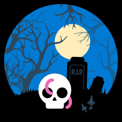 Sticker. Forest landscape with a graveyard, a skull and a moon for Halloween. Vector