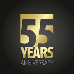 55 Years Anniversary Gold Black Logo Icon Banner