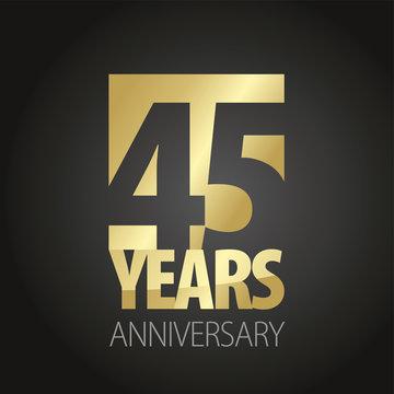 45 Years Anniversary gold black logo icon banner