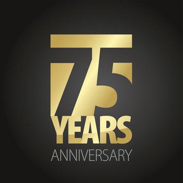 75 Years Anniversary gold black logo icon banner