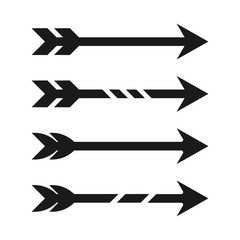 Simple, flat arrow icon. Black silhouette. Four variations. Isolated on white