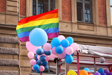 The annual Pride Parade. Rainbow flags and balloons symbolising LGBT gay and lesbians.