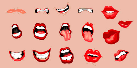 Mouth expressions vector, cute cartoon facial gestures set with pouting lips smiling sticking out tongue illustration