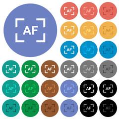 Camera autofocus mode round flat multi colored icons