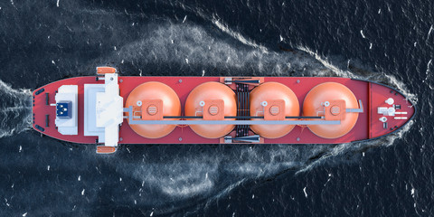 Gas tanker sailing in ocean, top view. 3D rendering
