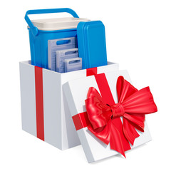 Portable Cool Box inside gift box, gift concept. 3D rendering