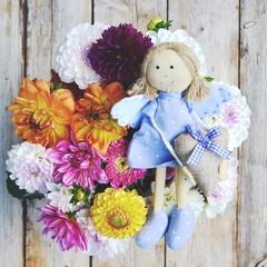 Grußkarte - Blumenstrauß mit Engel - Dahlien - Erntedankfest