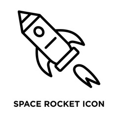 Space Rocket icon vector isolated on white background, Space Rocket sign , linear and stroke elements in outline style