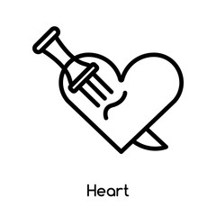Heart icon vector isolated on white background, Heart sign , line or linear design elements in outline style