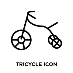 Tricycle icon vector isolated on white background, Tricycle sign , linear and stroke elements in outline style