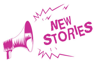 Word writing text New Stories. Business concept for imaginary or real people and events told for entertainment Purple megaphone loudspeaker important message screaming speaking loud.