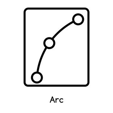 Arc icon vector isolated on white background, Arc sign , line or linear design elements in outline style