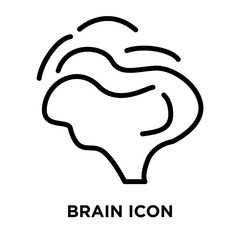 Brain icon vector isolated on white background, Brain sign , linear and stroke elements in outline style