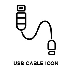 USB Cable icon vector isolated on white background, USB Cable sign , linear and stroke elements in outline style