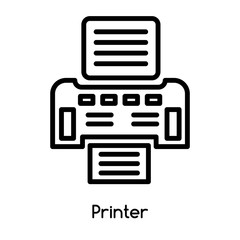 Printer icon vector isolated on white background, Printer sign , line or linear design elements in outline style