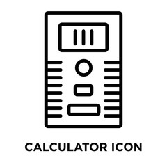 Calculator icon vector isolated on white background, Calculator sign , linear and stroke elements in outline style