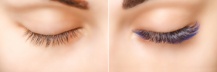 Eyelash Extension. Comparison of female eyes before and after. Blue ombre lashes.