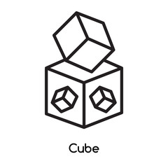 Cube icon vector isolated on white background, Cube sign , line or linear design elements in outline style