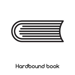 Hardbound book icon vector isolated on white background, Hardbound book sign , line or linear design elements in outline style