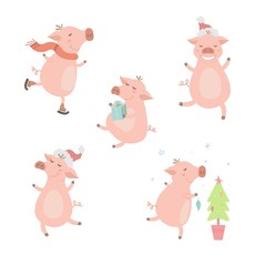 Set of cute pigs. 2019. Pigs with different characters. Vector illustration.