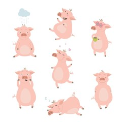 Set of cute pigs. Pigs with different characters. Vector illustration.