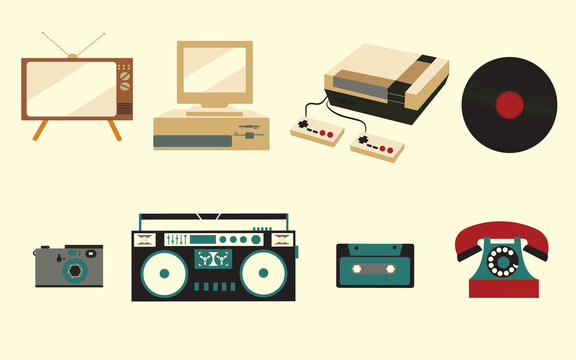 A set of icons of old vintage retro electronics, a kinescope TV, a cassette tape recorder, a vinyl record, a computer, a game console, a telephone, a photoapat from the 70s, 80s, and 90s