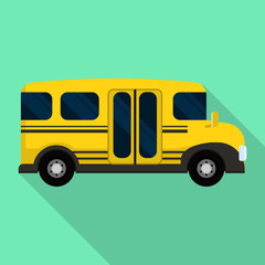 Side of mini school bus icon. Flat illustration of side of mini school bus vector icon for web design