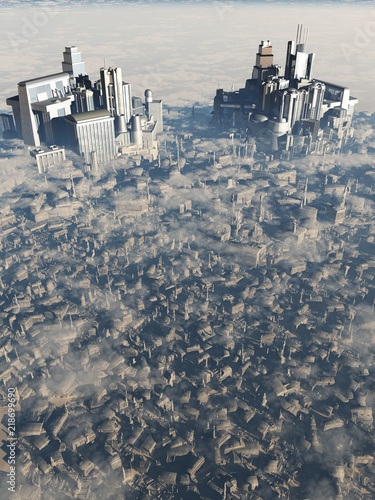 """Future City Bird's Eye View - science fiction illustration"" Stock photo and royalty-free images on Fotolia.com - Pic 218699690"