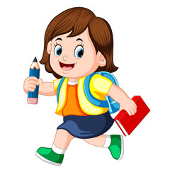 a schoolgirl holding pencil with backpacks and books walking