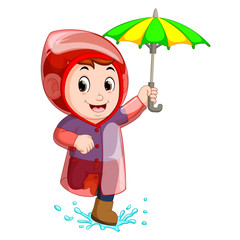 Little boy wearing raincoat and holding umbrella