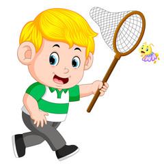 Cute little boy cartoon running to catch butterfly