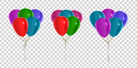 Vector set of realistic isolated balloons for decoration and covering on the transparent background. Concept of happy birthday, anniversary and holiday.