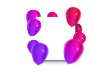 Vector realistic isolated greeting card with balloons for decoration and covering on the white background. Concept of happy birthday, anniversary and holiday.