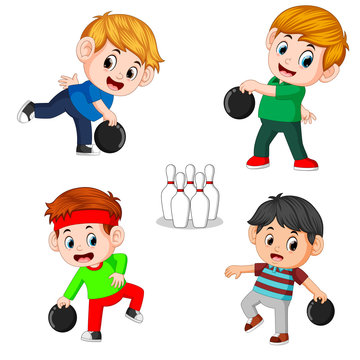 The various positions of the bowling player