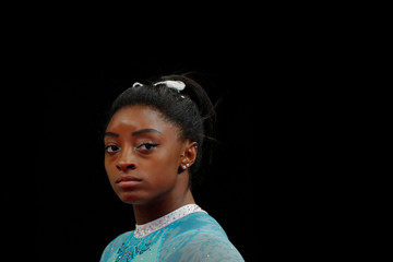 Simone Biles smiles during warm-ups at the U.S. Gymnastics Championships in Boston