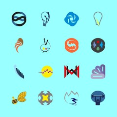 logo icons set. financial, wear, iris and training graphic works