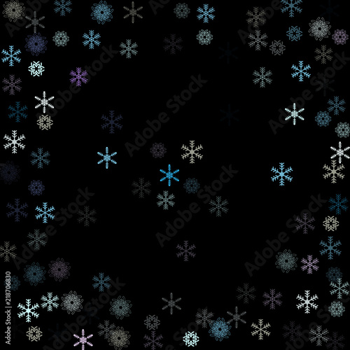 falling down snow confetti snowflake vector border festive winter christmas new year