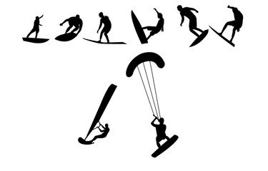 Kite, sail and regular surfing silhouettes