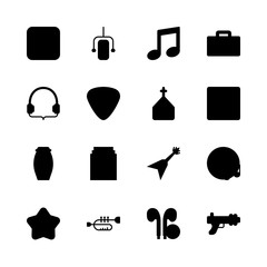 music vector icons set. favorite, musical note, drum and trumpet in this set