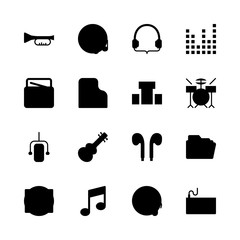 music vector icons set. drum set, sound bars, earphones and piano in this set