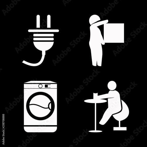 technology vector icons set  washing machine, freight forwarding