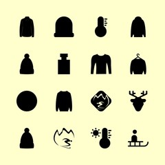 winter icons set. red, red deer, heat and white graphic works
