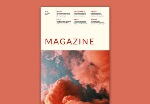 Magazine Cover Layout with Red Accents