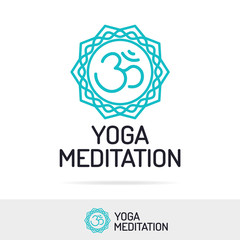 Vector yoga meditation logo set line style for studio class, fitness center, sport emblem. Healthcare, spa, lifestyle logotype design elements. 10 eps